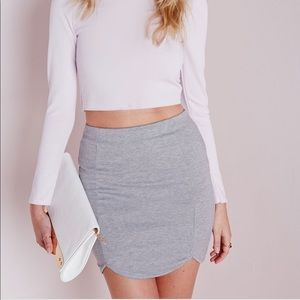 Grey Ribbed Bodycon Midi Skirt
